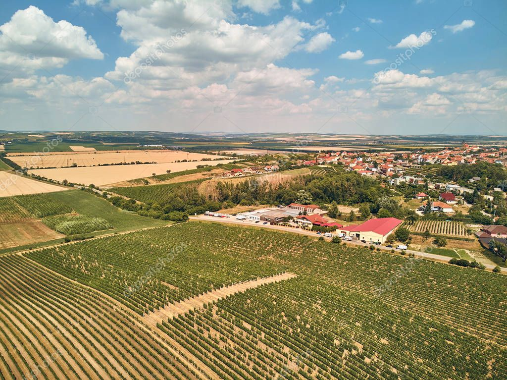 Aerial view of houses and fields against blue sky with clouds, Czech Republic