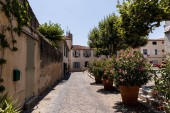 Krásné útulné uličky s tradičními domy, zelené stromy a rozkvetlé květiny v květináčích, provence, Francie