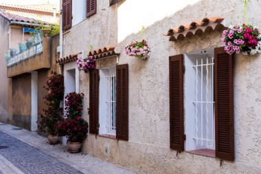 cozy narrow street with traditional houses, flower pots and shutters in provence, france