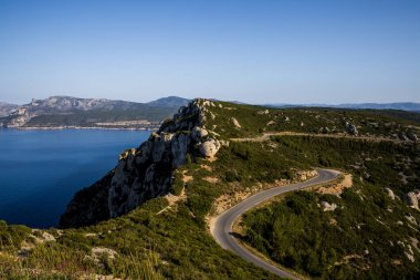 Aerial view of winding road in mountains, Calanques de Marseille (Massif des Calanques), provence, france stock vector