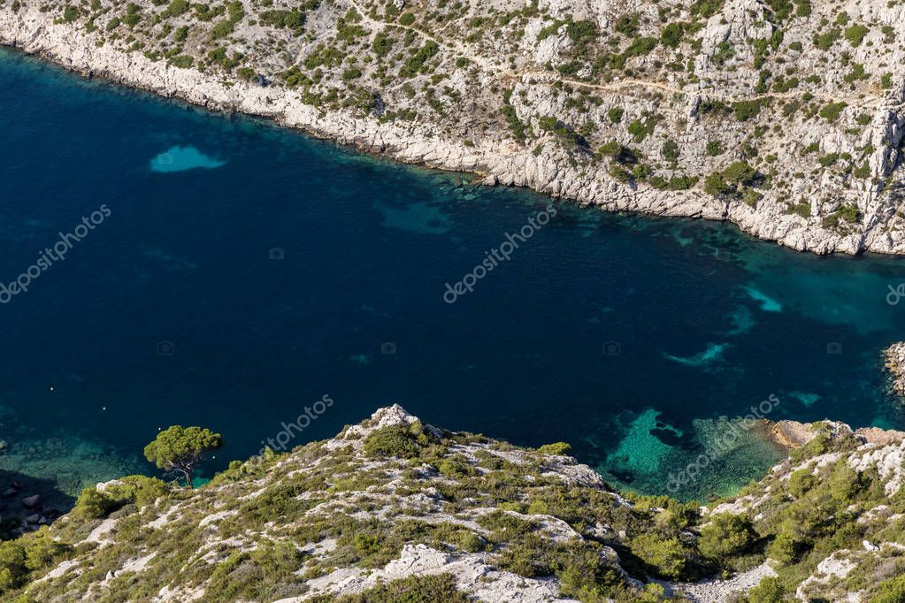 aerial view of beautiful harbour and rocky mountains in Calanques de Marseille (Massif des Calanques), provence, france