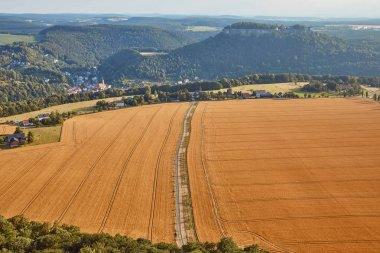aerial view of road between beautiful orange fields with harvest in Bad Schandau, Germany