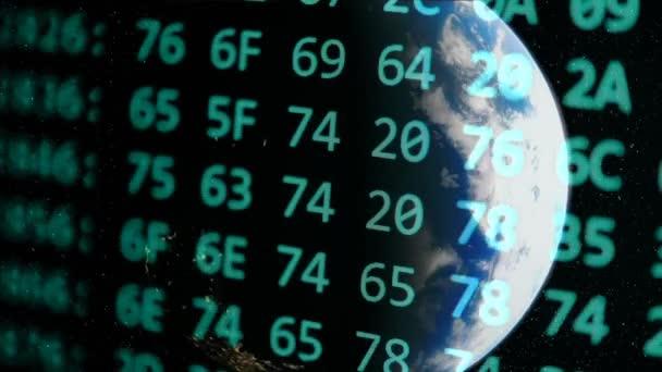 der Programmcode scrollt vor dem Hintergrund der Erde