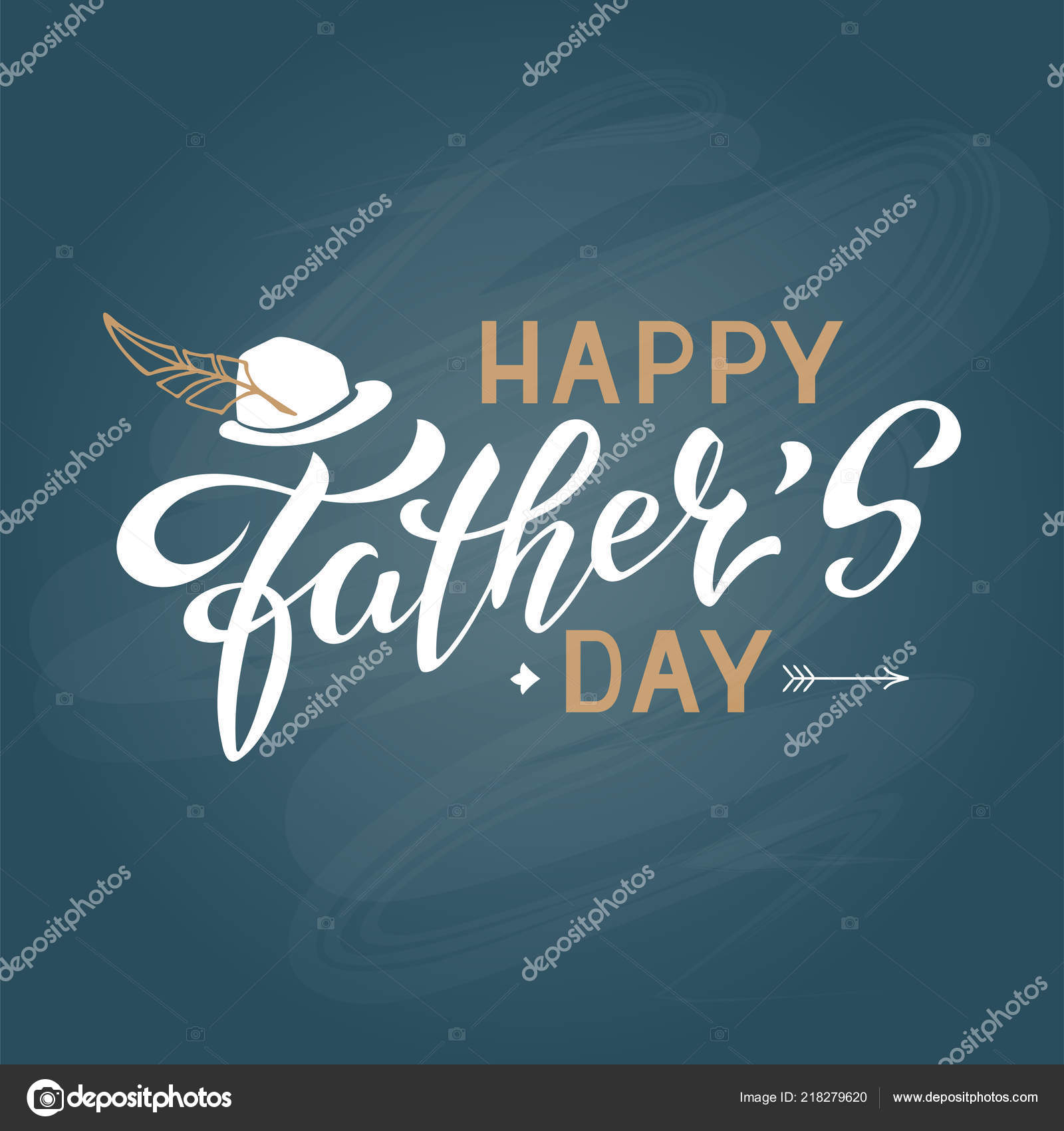 Vector Illustration Father Day Greetings Card Hand Lettering Happy