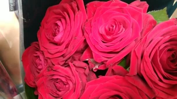 Zblízka záběr na pupeny malé kytice z rudých růží