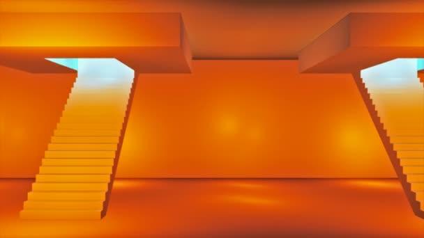 Broadcast Passing Hi-Tech Stairs Alley, Narancs, Közlekedés, 3D, 4K