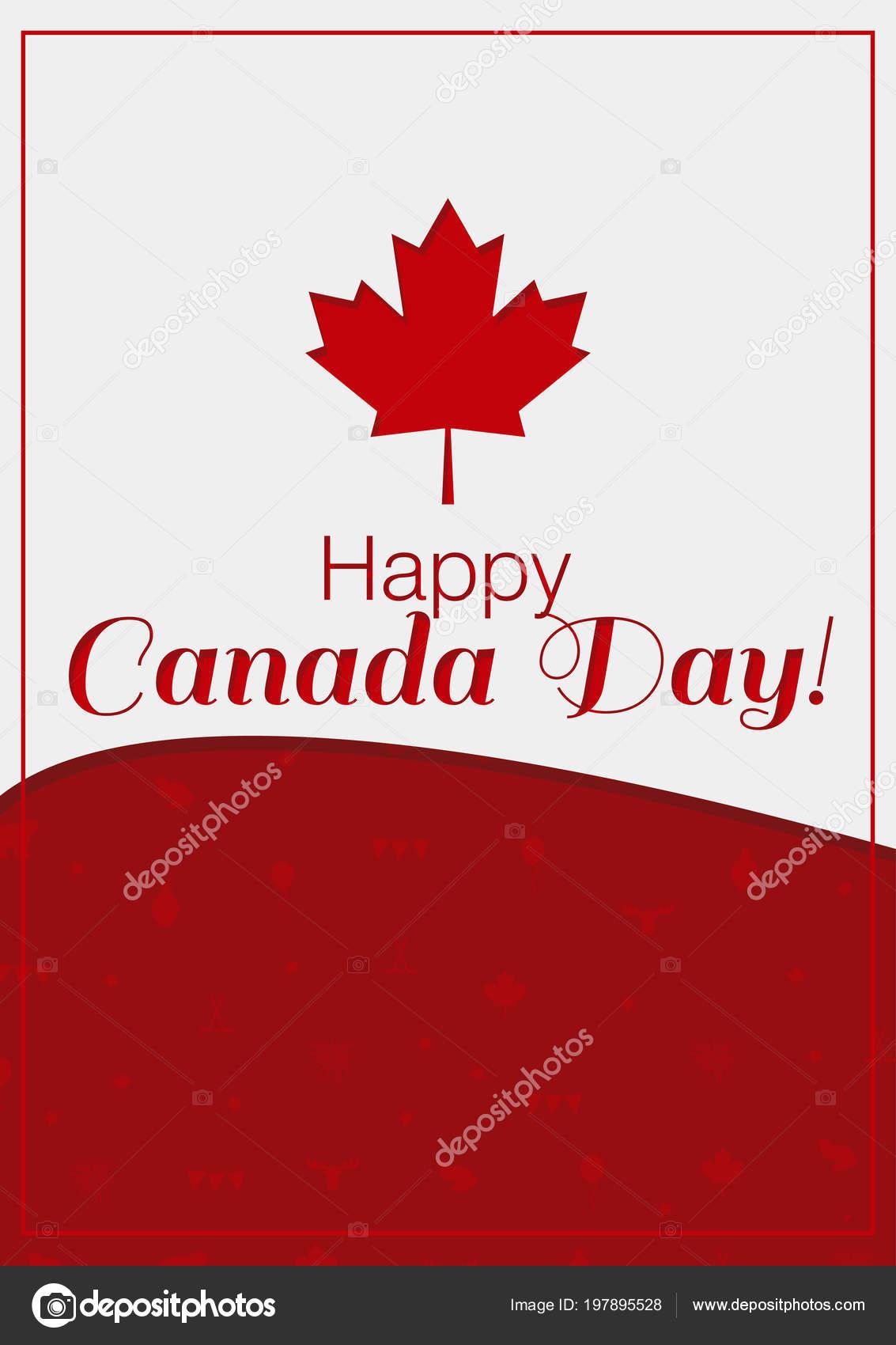 Greeting Card Happy Canada Day Vector Illustration Canada Symbols