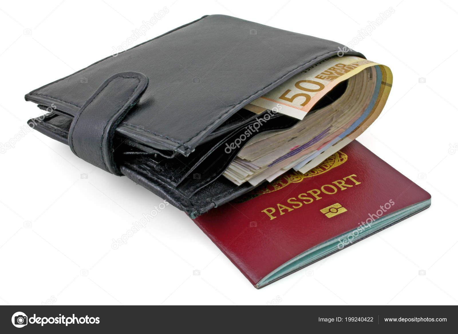 Paspoort Portemonnee.Paspoort Portemonnee Geld Portemonnee Met Eurobiljetten Opleggen Van