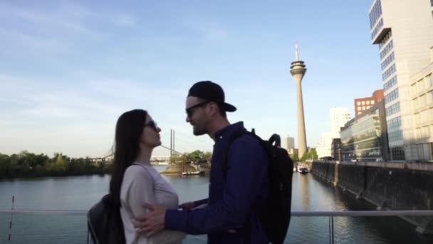 Happy Caucasian Couple Meet Kiss Hug, Rheinturm Rhine Tower, Dusseldorf