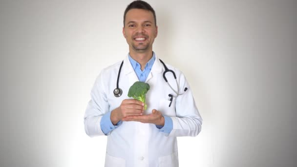Doctor Holding Natural Organic Broccoli, Healthy Vitamin Nutrition Concept