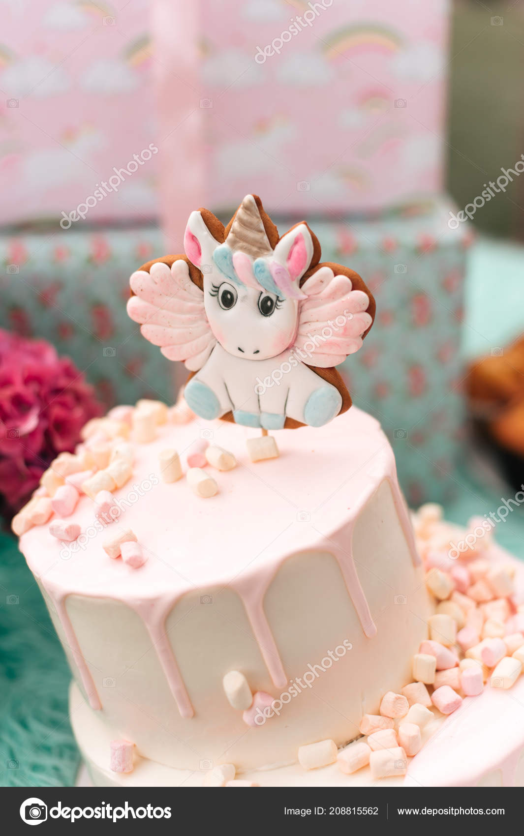 Sweet Birthday Cake Unicorn Decoration Table Stock Photo