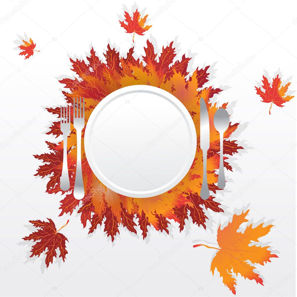 Autumn leaves with plate fork spoon and knife , serving holidays table , romantic motive illustration with falling leafs, thanksgiving table orange red brown.
