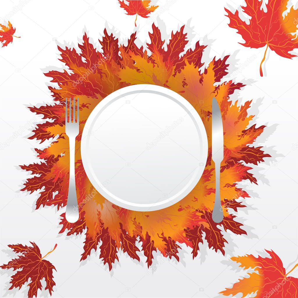 Autumn leaves with plate fork  and knife , served holidays table , romantic motive illustration with falling leafs, thanksgiving table.