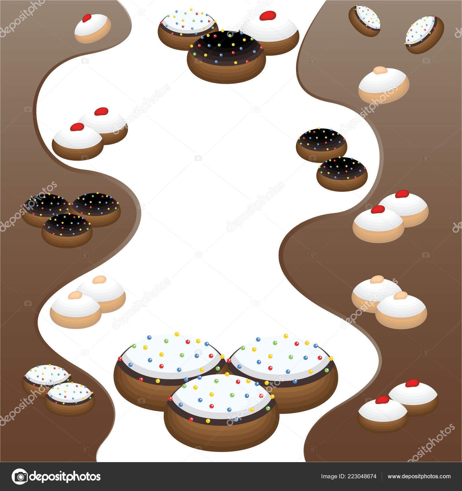 cute flat cartoon page template many cinds doughnuts donut tasty