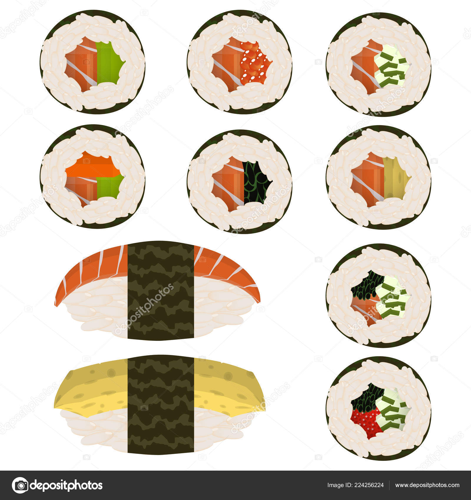 Satz Von Scheiben Sushi Rollen Und Nigeri Traditionelle ...