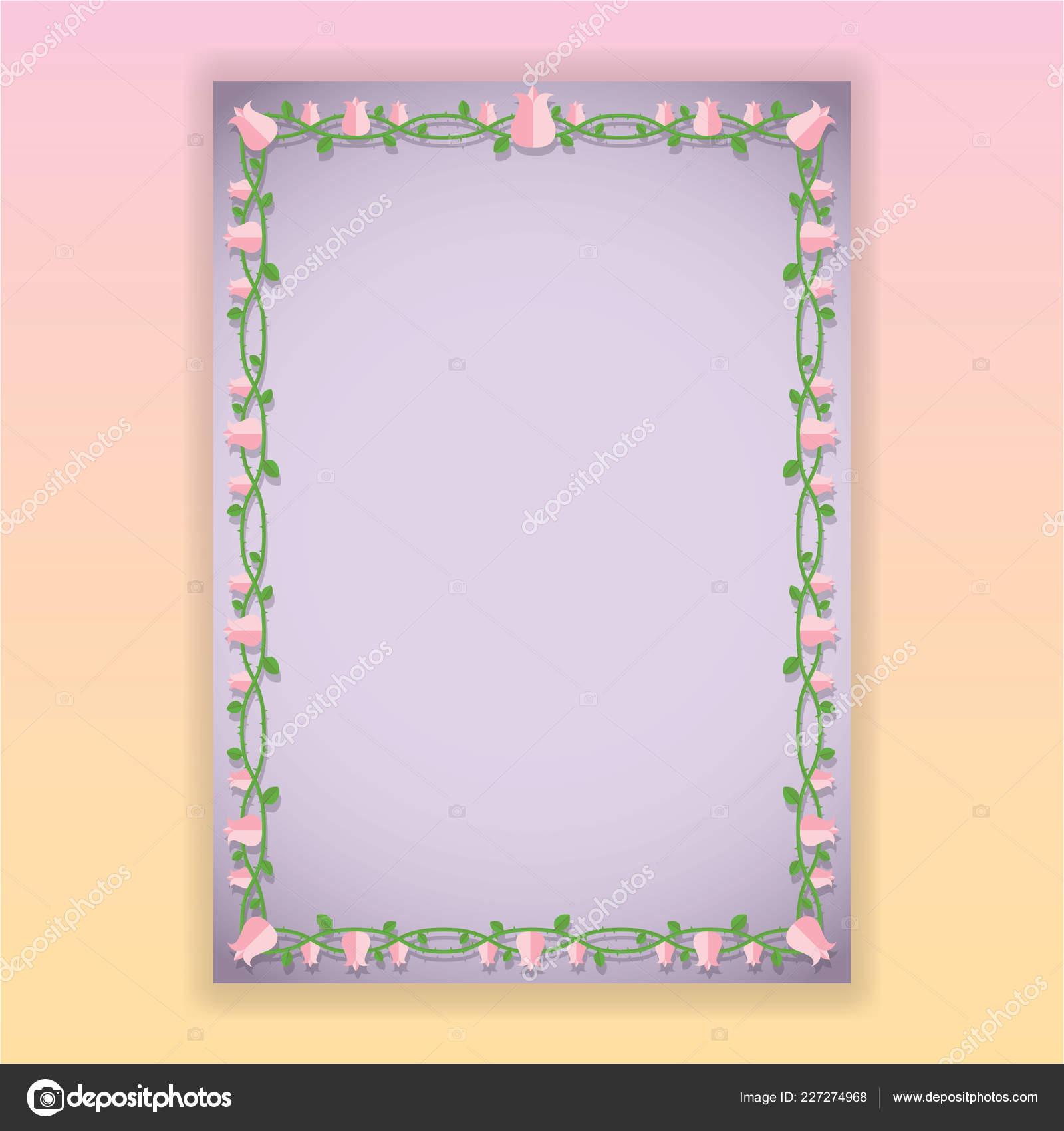 Bordes Florales Violeta Plantilla Para Web Impresión