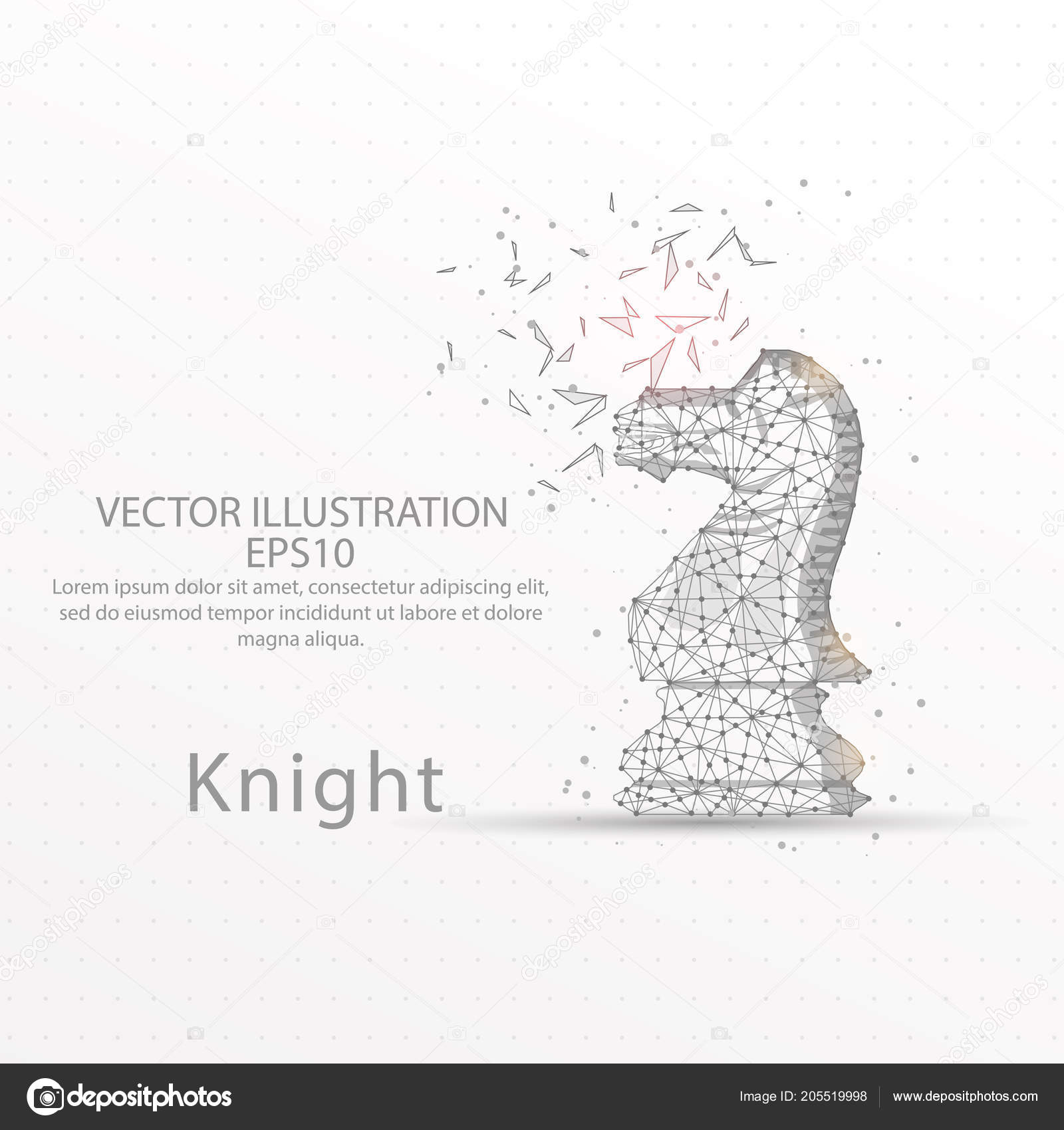 Chess Knight Abstract Mesh Line Composition Digitally Drawn Starry ...