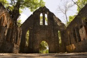Photo Protestant church built of stone masonry and windows of Burma teak and stained glasses, Ross Island, Andaman