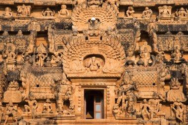 Close view of the Vimana sculptures, Brihadishvara Temple, Thanjavur, Tamil Nadu, India