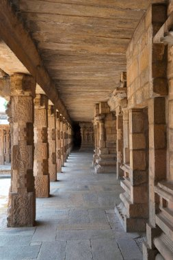 Carved pillars of the north side cloister, Airavatesvara Temple, Darasuram, Tamil Nadu, India.