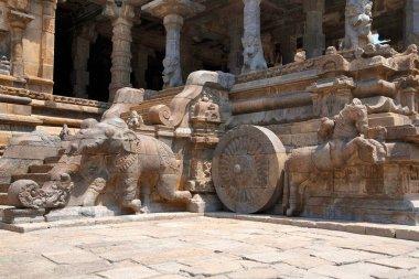 Elephants of the balustrades and galloping horses, Agra-mandapa, Airavatesvara Temple, Darasuram, Tamil Nadu, India. View from South.