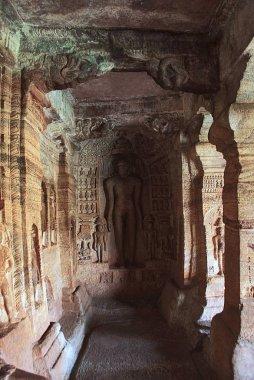 Cave 4 : Carved figure of Indrabhuti Gautama. Badami caves, Badami, Karnataka India