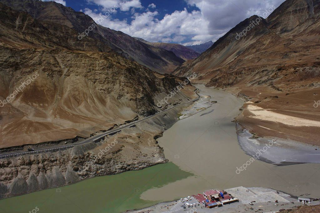 Confluence of Indus and Zanskar rivers, Jammu and Kashmir, India