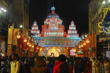 PUNE, INDIA, September 2017, People at Shrimant Dagadu Seth Ganapati decorated pandal during Ganapati Festival