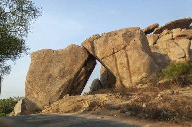 Stone Arc made of two huge boulders at Hampi, Karnataka, India
