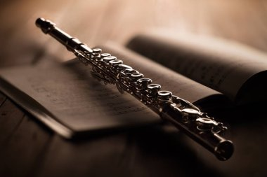 transverse flute with musical score