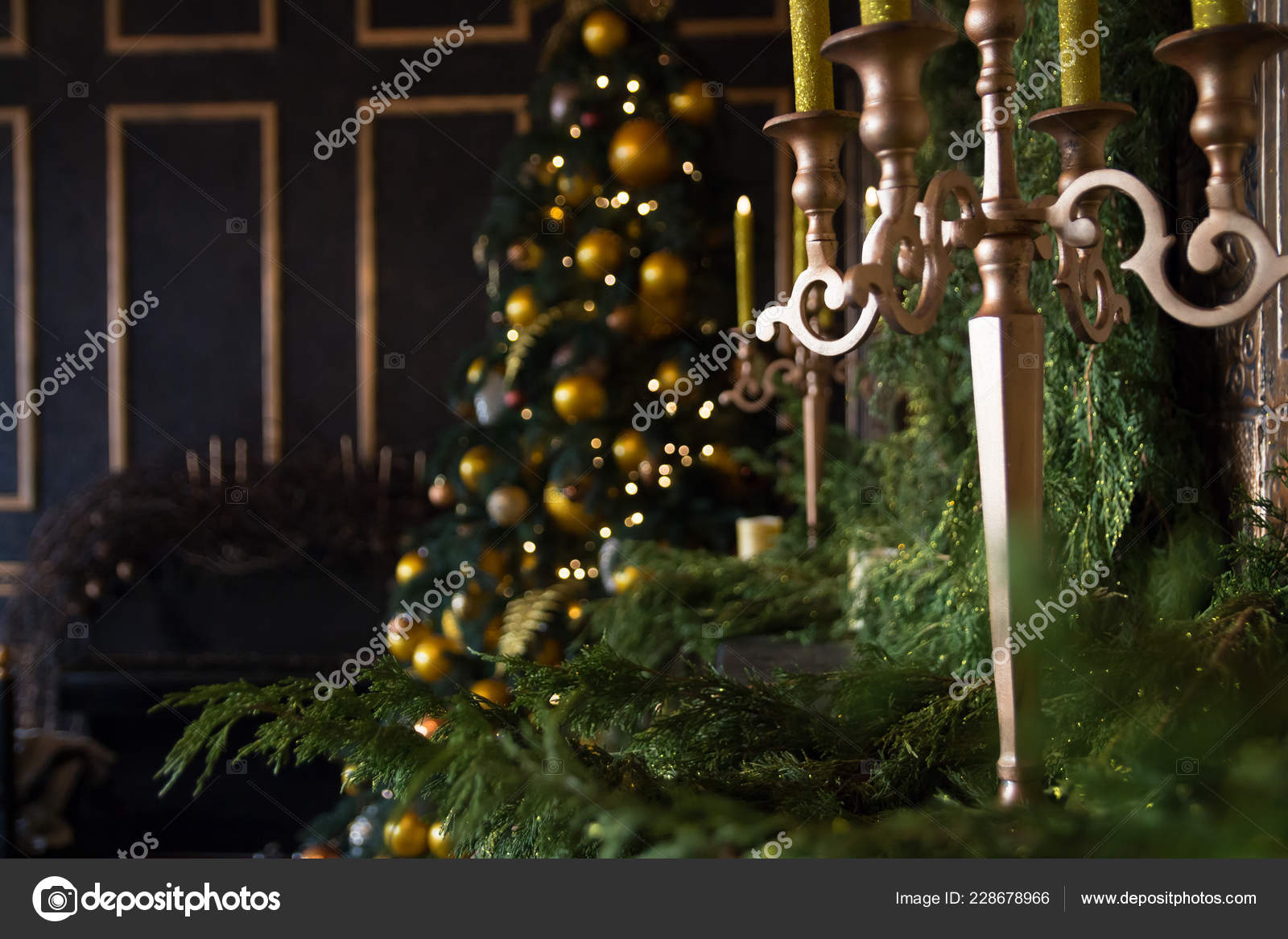 Christmas Tree Yellow Balls Candles Decorated Fireplace Brown Tones Black Stock Photo C Neyao 228678966