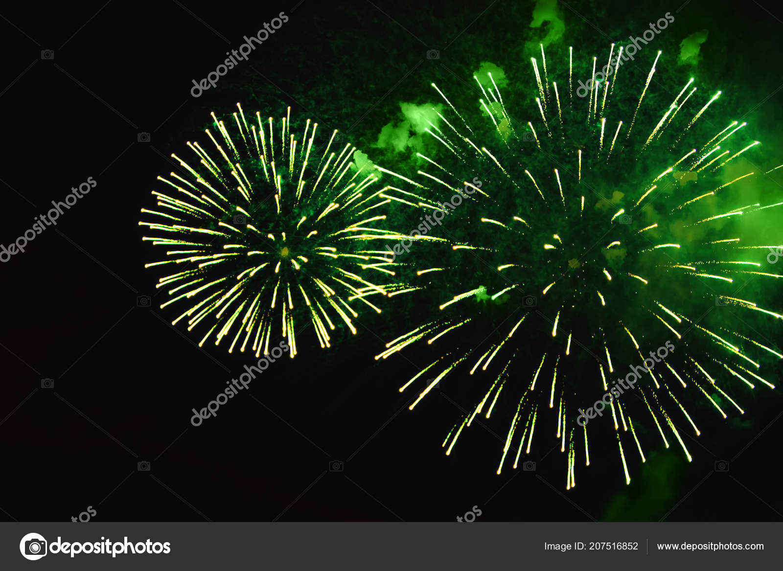 Christmas Green Color.Brightly Green Color Fireworks Dark Background Shaped