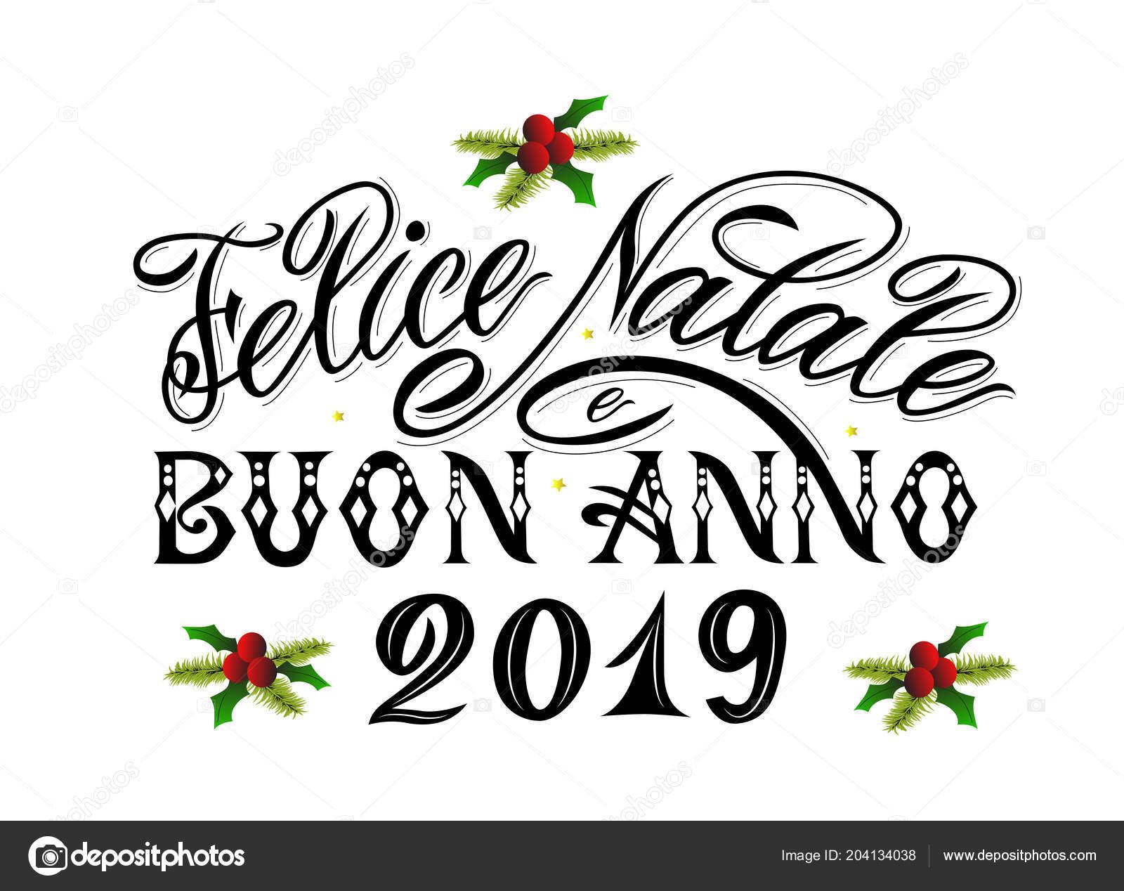 Merry Christmas Happy New Year 2019 Greetings Text Italian Language