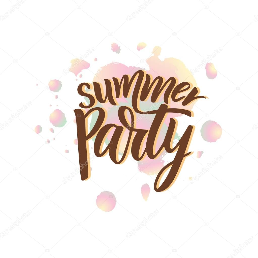 Phrase of Summer Party. Modern calligraphy lettering. Vector illustration.