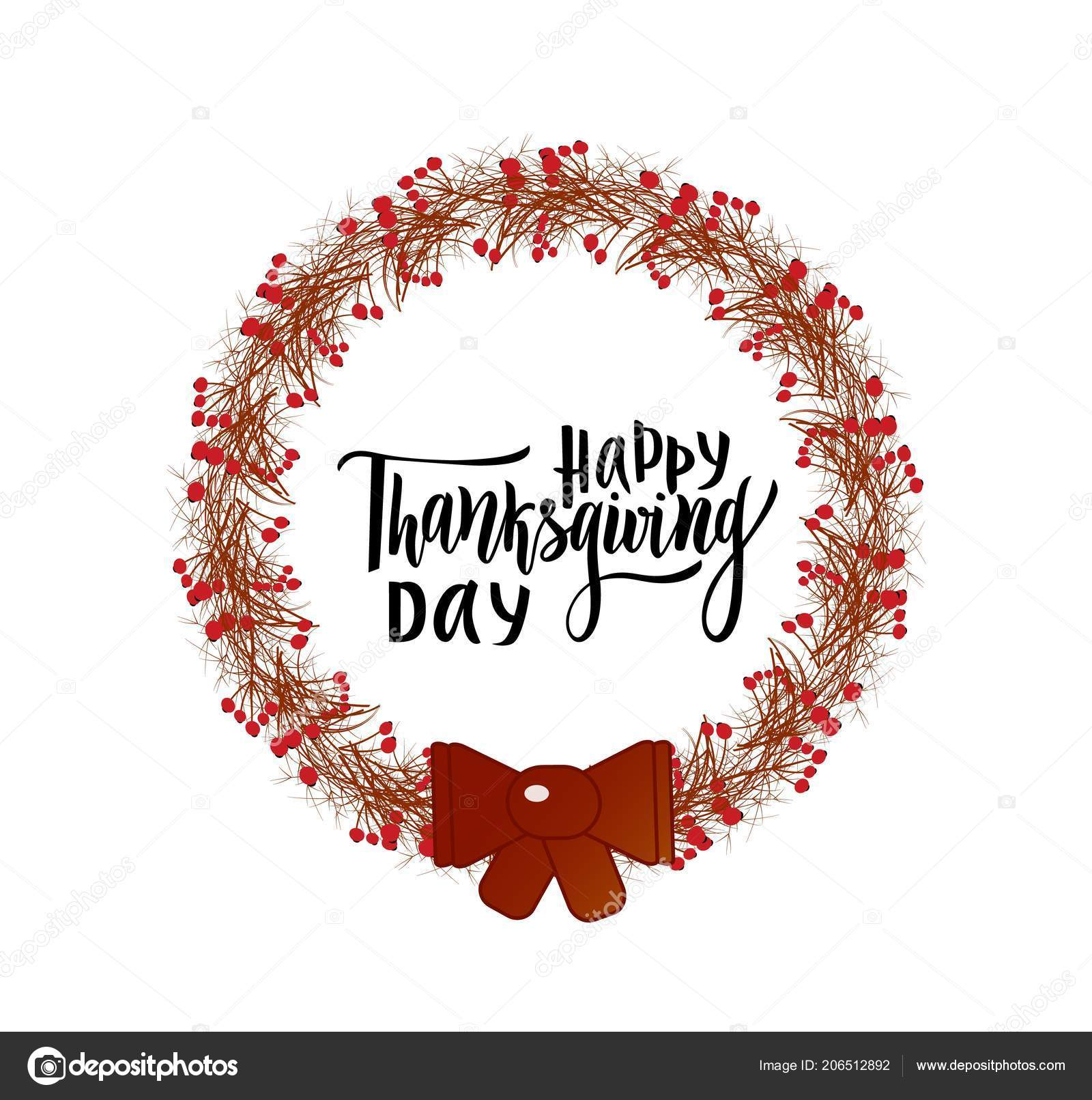 Happy Thanksgiving Day Greeting Lettering Phrase Wreath Branches Berries Modern Stock Vector