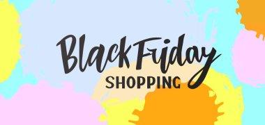 Vector illustration of hand lettering modern brush calligraphic lettering of text Black Friday shopping