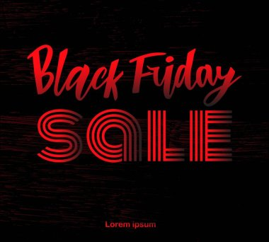 Vector illustration of hand lettering modern brush calligraphic lettering of text Black Friday SALE red black color isolated on background with texture. As template of banner, print, for package products, poster, label.