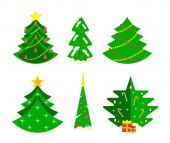 Collection of Christmas trees, modern flat design.