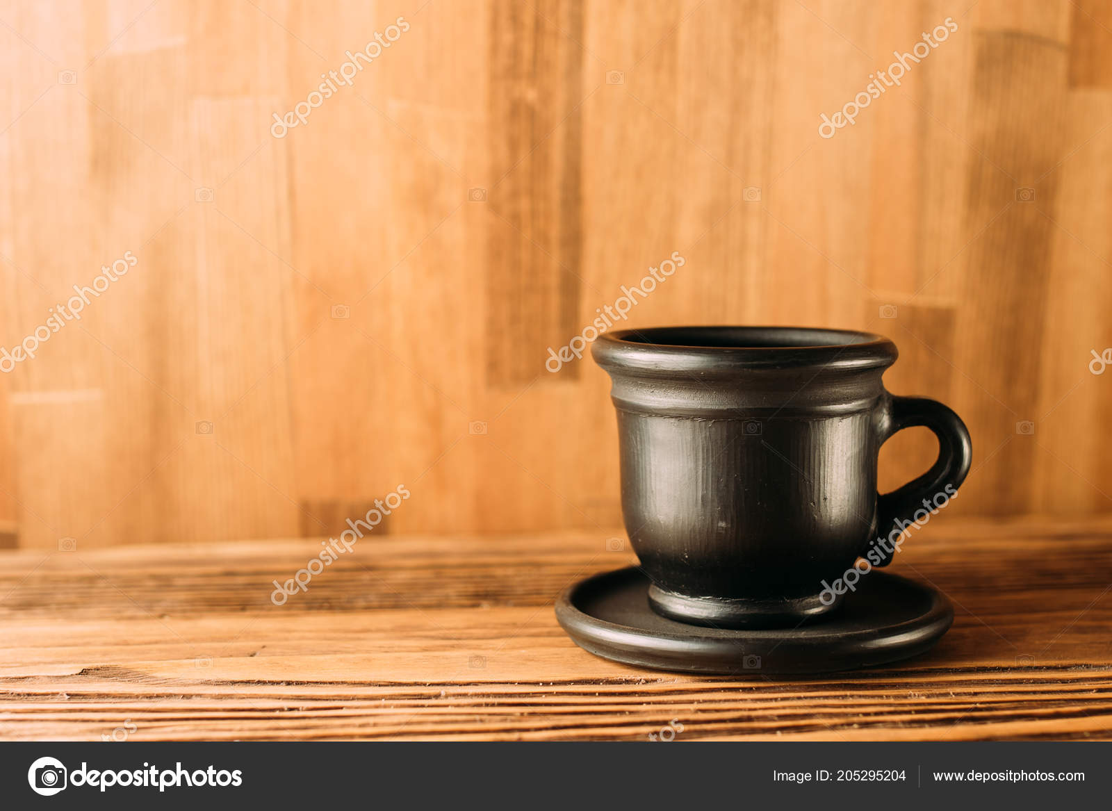 Black Clay Mug Coffee White Background Clay Cup Black Color Stock Photo C Denysvynnyk 205295204