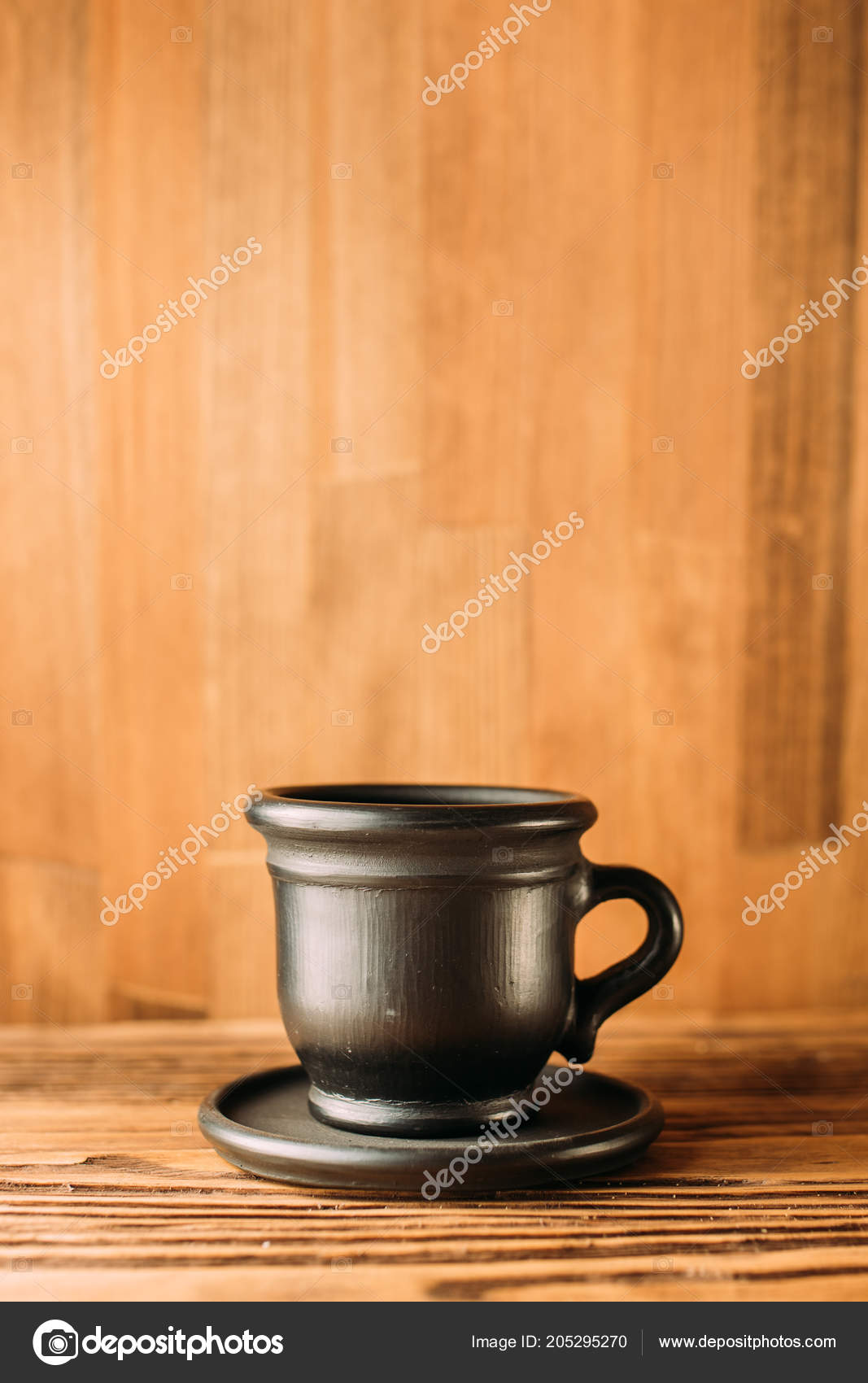 Black Clay Mug Coffee White Background Clay Cup Black Color Stock Photo C Denysvynnyk 205295270