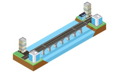 The bridge skyway of urban infrastructure is isometric for games, applications of inspiration and creativity. City transport organization objects in 3D dimensional form - Vector
