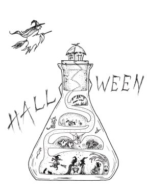 graphic drawing for halloween magic bulb, sketch