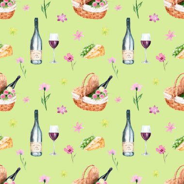 watercolor drawings on the theme of a picnic - seamless pattern
