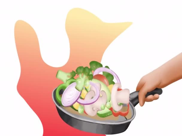 pánev se smaženou zeleninou, houbami, cuketou, rajčaty, mrkví, cibulí, hráškem, kukuřicí, brokolicí, pepřem