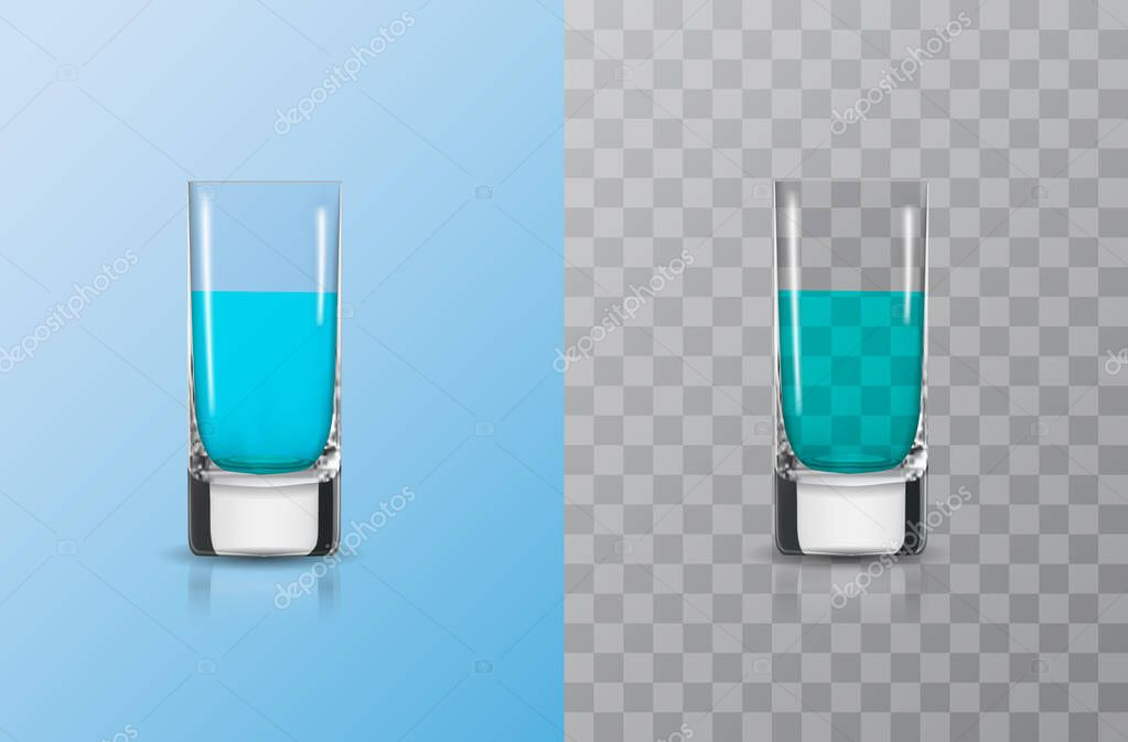 Shot glasses for alcoholic drinks isolated on blue and transparent background. 3D Realistic vector illustration. EPS 10