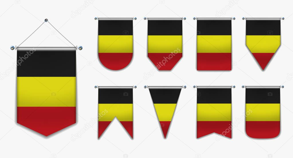 Set of hanging flags of the BELGIUM with textile texture. Diversity shapes of the national flag country. Vertical Template Pennant for background, banner, web site, logo,award, achievement, festival. EPS