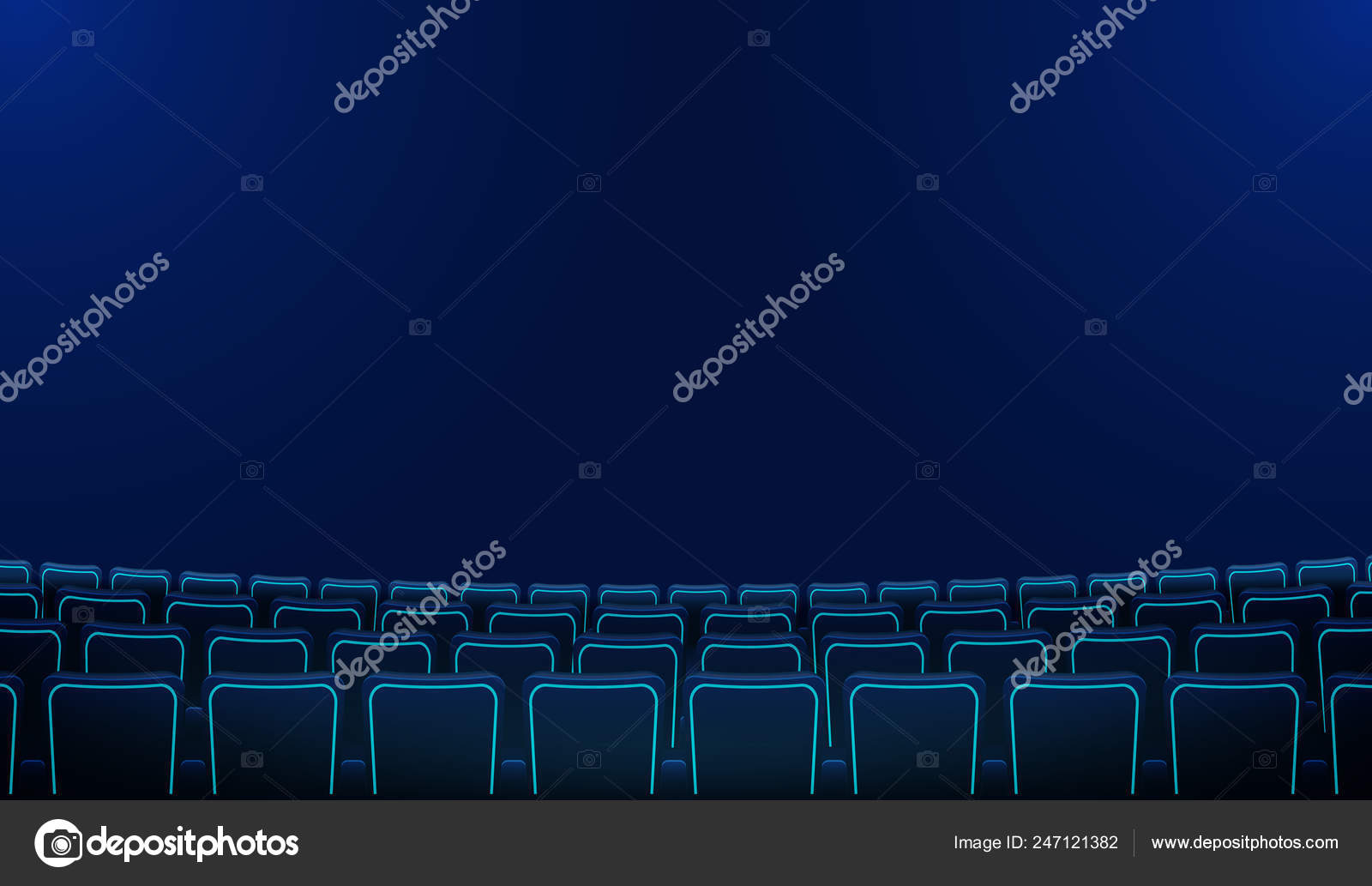 Realistic Rows Blue Chairs Cinema Movie Theater Seats Darkness Cinema Stock Vector C Pilvitus 247121382