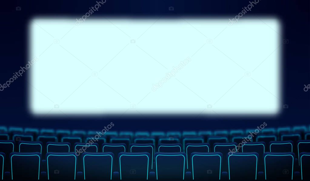 Realistic Rows Of Blue Chairs Cinema And White Blank Screen In The Darkness Cinema Auditorium And Movie Theater Seats Facing Empty Scene Design Vector Flat Cinema Style Cartoon Illustration Eps 10