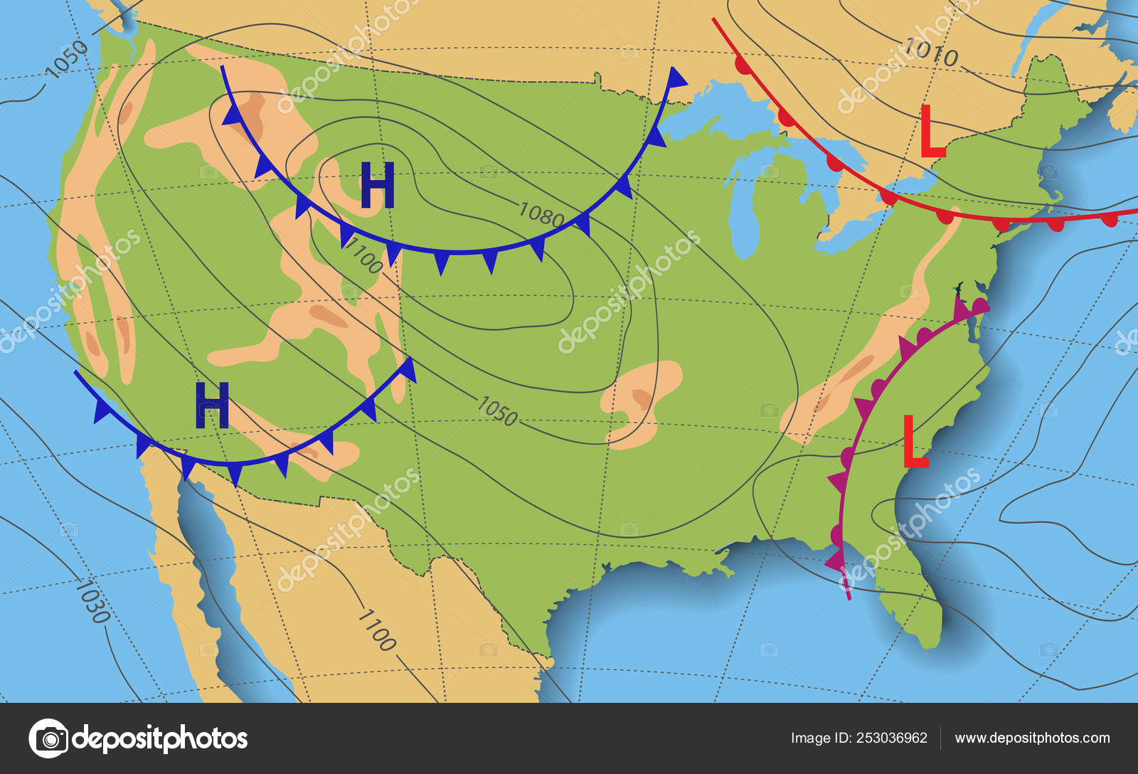 Image of: Weather Forecast Meteorological Weather Map Of The United State Of America Realistic Synoptic Map Usa With Aditable Generic Map Showing Isobars And Weather Fronts Topography And Physical Map Stock Vector C