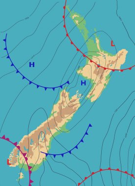 Realistic weather map of the New Zealand showing isobars and weather fronts. Meteorological forecast. Topography map. Vector illustration.